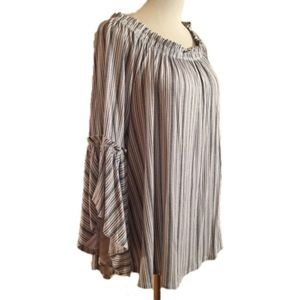 Time And Tru Blouse Top 3/4 Bell Sleeve Striped L